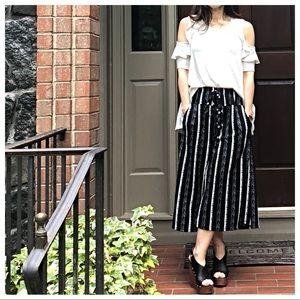 Pants - Wide leg striped gaucho pants